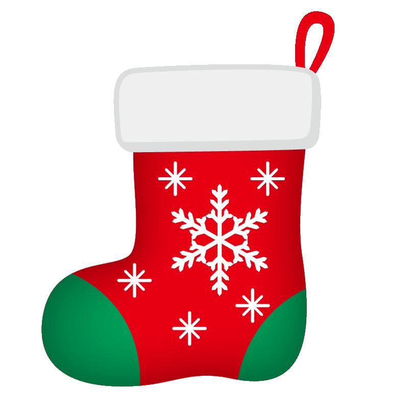 クリスマス_ソックス_赤緑_雪結晶