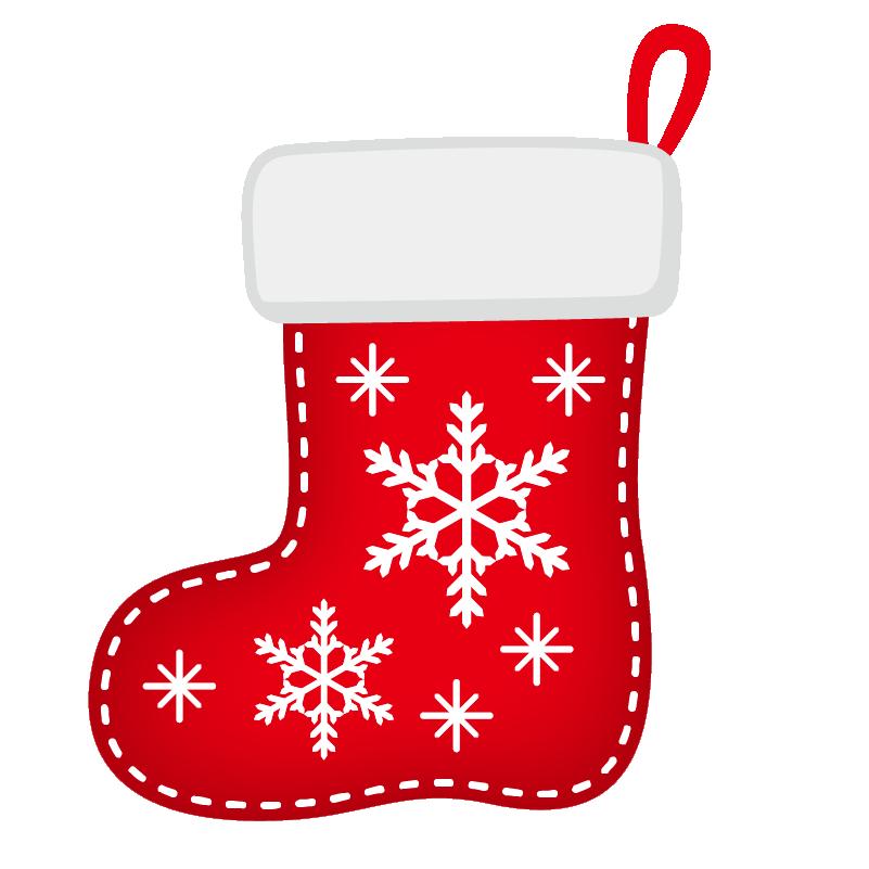 クリスマス_ソックス_赤_雪結晶