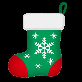 クリスマス_ソックス_緑赤_雪結晶
