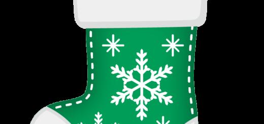 クリスマス_ソックス_緑白_雪結晶