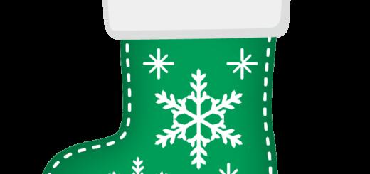 クリスマス_ソックス_緑_雪結晶