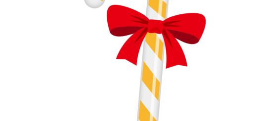 クリスマス_キャンディ_オレンジ白_リボン