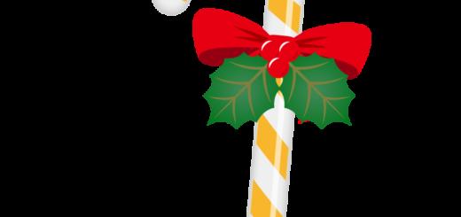 クリスマス_キャンディ_オレンジ白_リボン_ひいらぎ