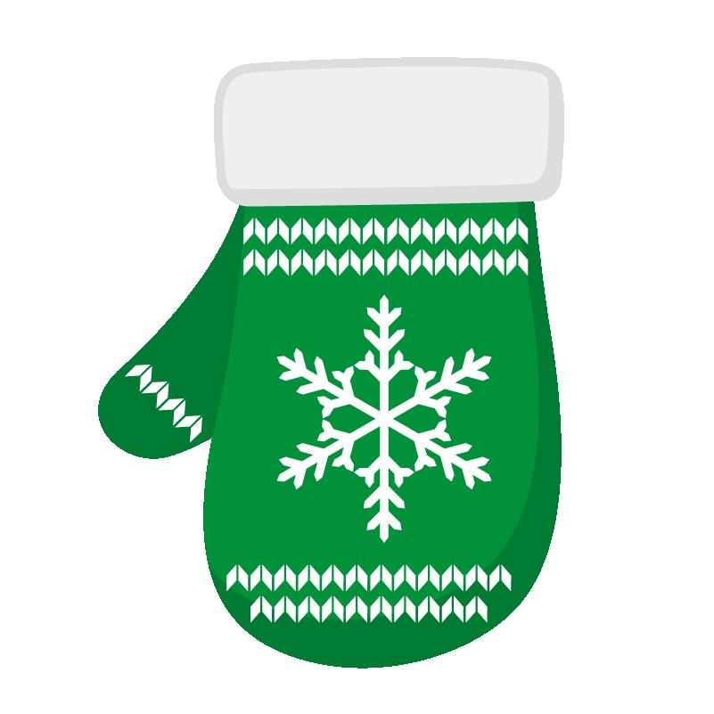 クリスマス_ミトン_緑白