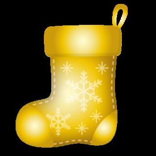クリスマス_ソックス_ゴールド_雪結晶