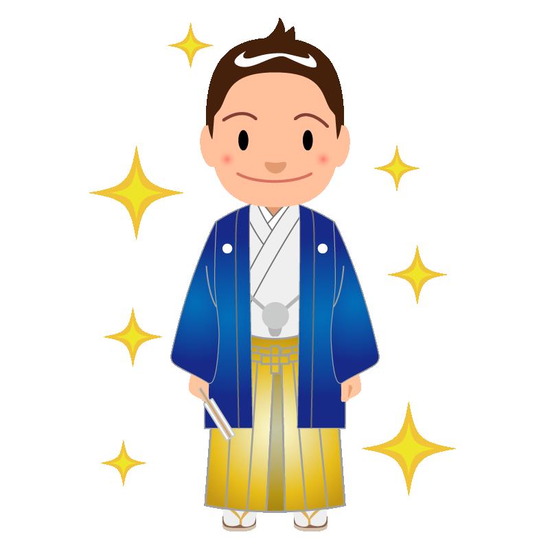 成人式_男性_紋付袴_青_キラキラ
