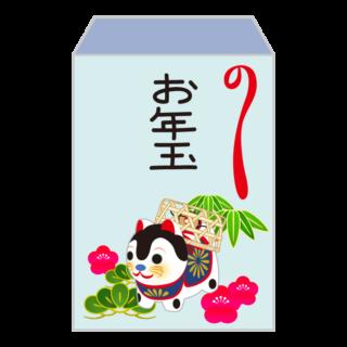 季節_1月_お年玉_ぽち袋_戌_青