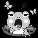 イラスト_3月_かえる_春_啓蟄_ちょう_モノクロ