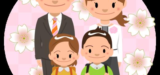 イラスト_4月_入学式_家族_小学生_桜
