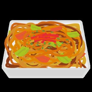 イラスト_お祭り_焼きそば_食べ物_夏