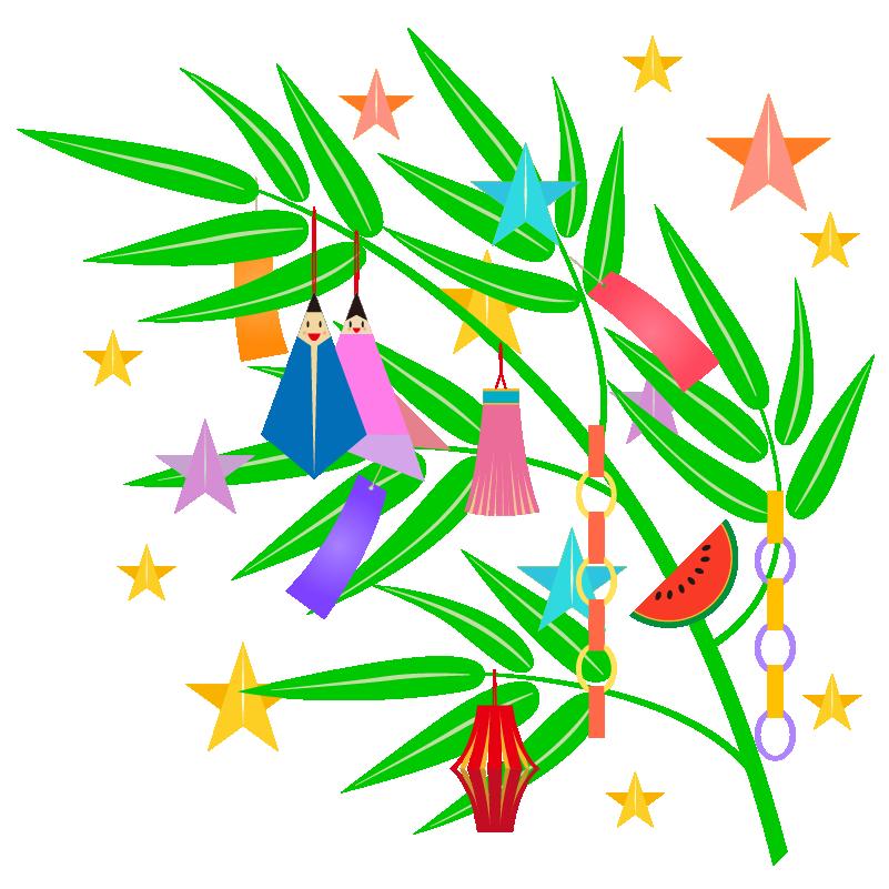 商用フリー無料イラスト 7月 七夕 笹 飾り 短冊 商用ok フリー素材集 ナイスなイラスト