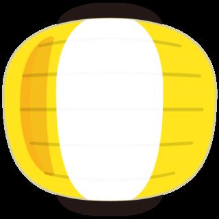 イラスト_提灯(ちょうちん)_丸型_黄色_祭り
