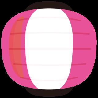 イラスト_提灯(ちょうちん)_丸型_ピンク_祭り