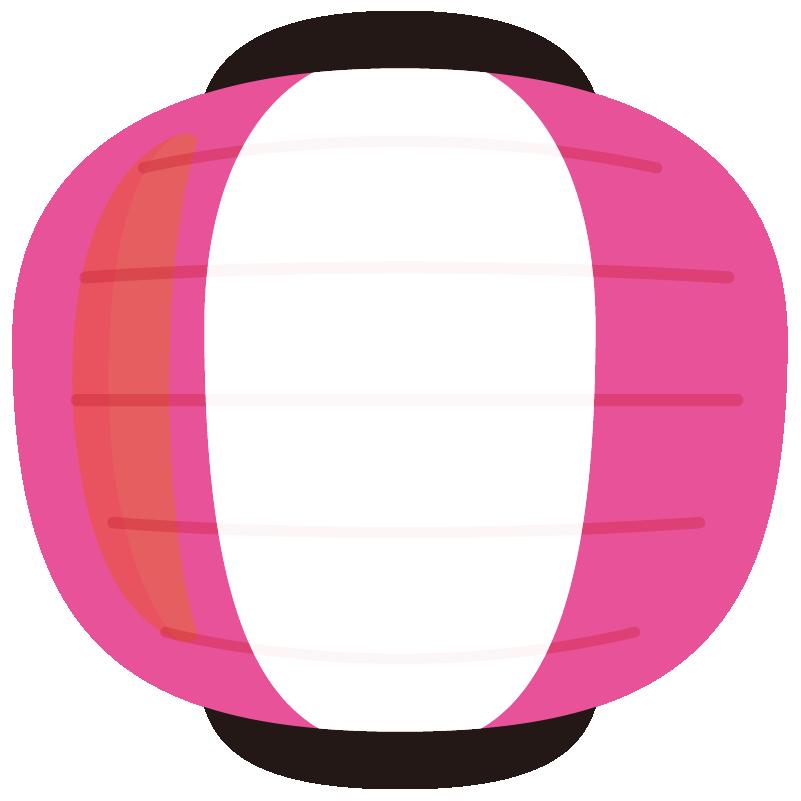 イラスト_提灯(ちょうちん)_丸型_ピンク_おお祭り