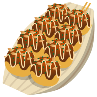 イラスト_食べ物_夏_たこ焼き_舟盛り