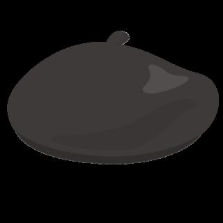 イラスト_ベレー帽_ブラック_beret
