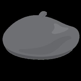 イラスト_ベレー帽_グレー_beret