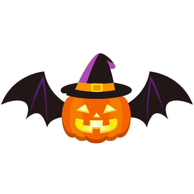 商用フリーイラスト_無料_10月_ハロウィンかぼちゃ_ランタン_コウモリ_halloween
