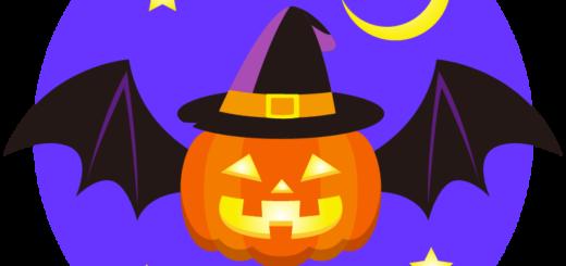 商用フリーイラスト_無料_10月_ハロウィンかぼちゃ_ランタン_コウモリ_夜_halloween