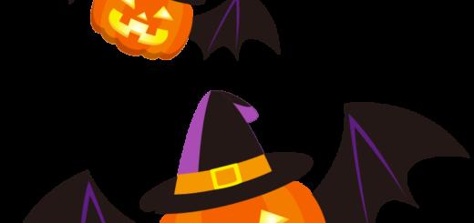 商用フリーイラスト_無料_10月_ハロウィンかぼちゃ_ランタン_コウモリ2_halloween