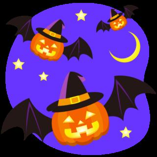 商用フリーイラスト_無料_10月_ハロウィンかぼちゃ_ランタン_コウモリ2_夜_halloween