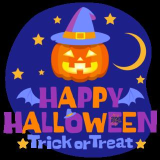 商用フリーイラスト_無料_10月_ハロウィン文字_夜_happy halloween,Trick or Treat