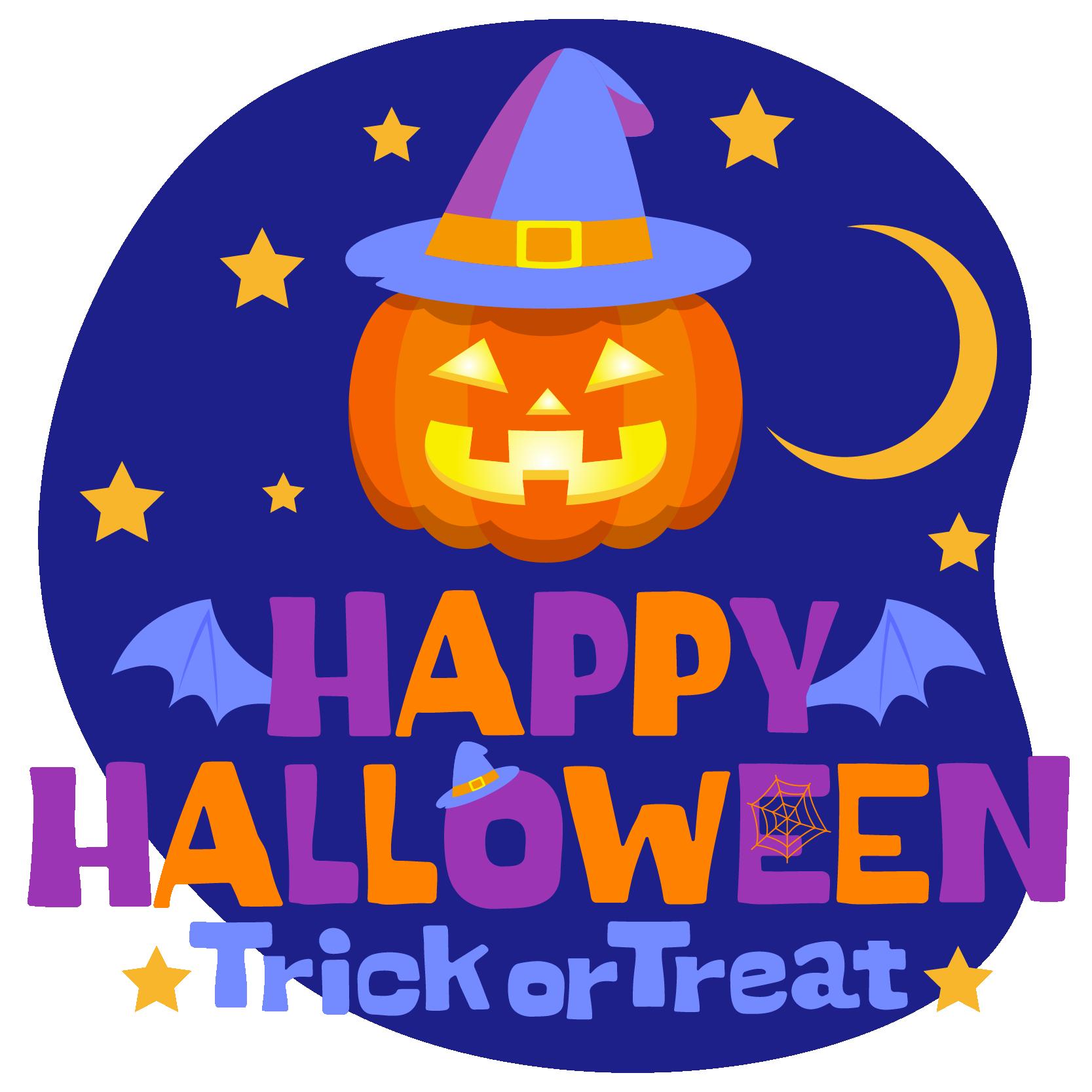 商用フリーイラスト_無料_10月_ハロウィン文字_夜_happy halloween,trick
