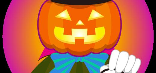 商用フリーイラスト_無料_10月_ハロウィン_かぼちゃ_ジャックオーランタン_コスプレ_halloween_オーナメント赤