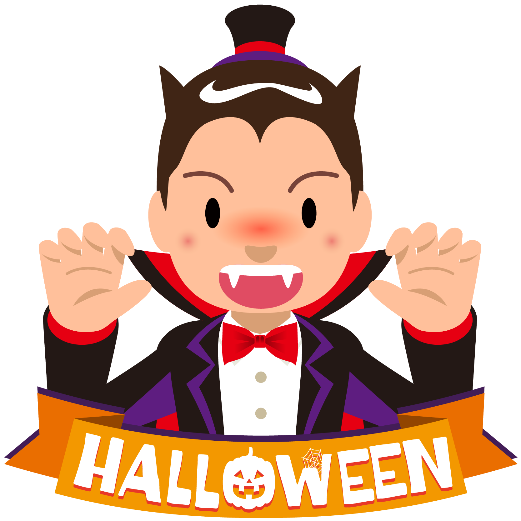 商用フリーイラスト_無料_10月_ハロウィン_ドラキュラ_コスプレ_halloween_Dracula_オーナメント