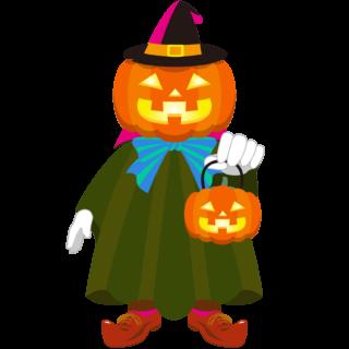 商用フリーイラスト_無料_10月_ハロウィン_ジャックオーランタン_かぼちゃ_コスプレ_halloween