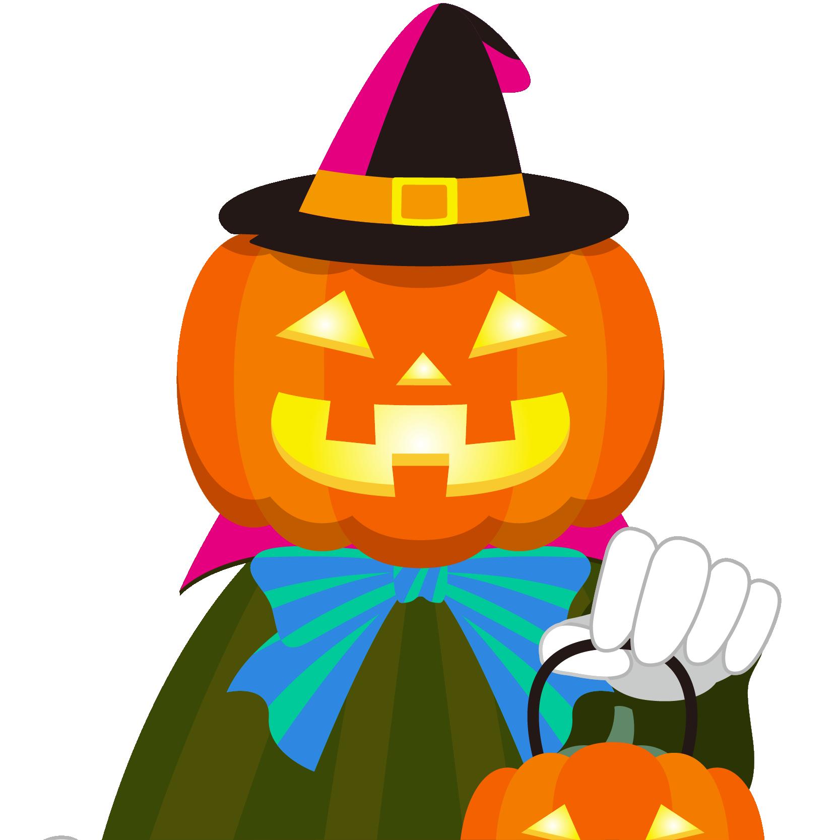 商用フリーイラスト_無料_10月_ハロウィン_ジャックオーランタン_かぼちゃ_コスプレ_halloween_上半身