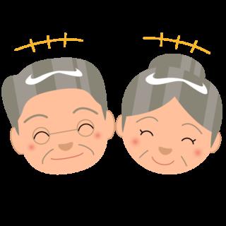 商用フリー_無料イラスト_敬老の日_おじいちゃん_おばあちゃん_顔