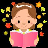 商用フリーイラスト_読書_女の子_Reading Book_落ち葉