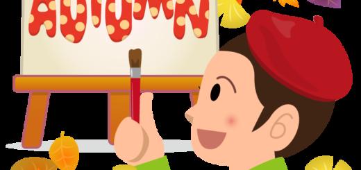 商用フリーイラスト_芸術の秋_男性_ベレー帽_イーゼル_キャンバス__文字_autumn