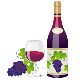 商用フリーイラスト_11月_ボジョレーヌーボー_ワイン_赤_ボトル&グラス01反転_Beaujolais Nouveau