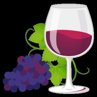 商用フリーイラスト_11月_ボジョレーヌーボー_ワイン_赤_グラス&ぶどう01反転_Beaujolais Nouveau