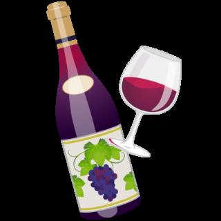 商用フリーイラスト_11月_ボジョレーヌーボー_ワイン_赤_ボトル&グラス02_Beaujolais Nouveau