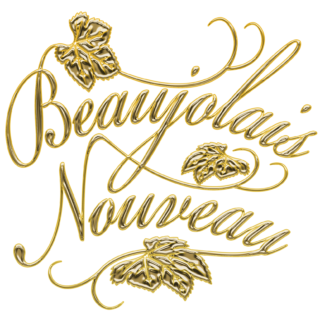 商用フリーイラスト_11月_ボジョレーヌーボー_ワイン_Beaujolais Nouveau_文字_ゴールド