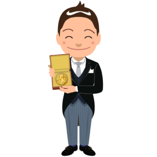 商用フリーイラスト_表彰_燕尾服_男性B_笑顔_ノーベル賞_メダル