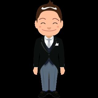 商用フリーイラスト_表彰_燕尾服_男性B笑顔