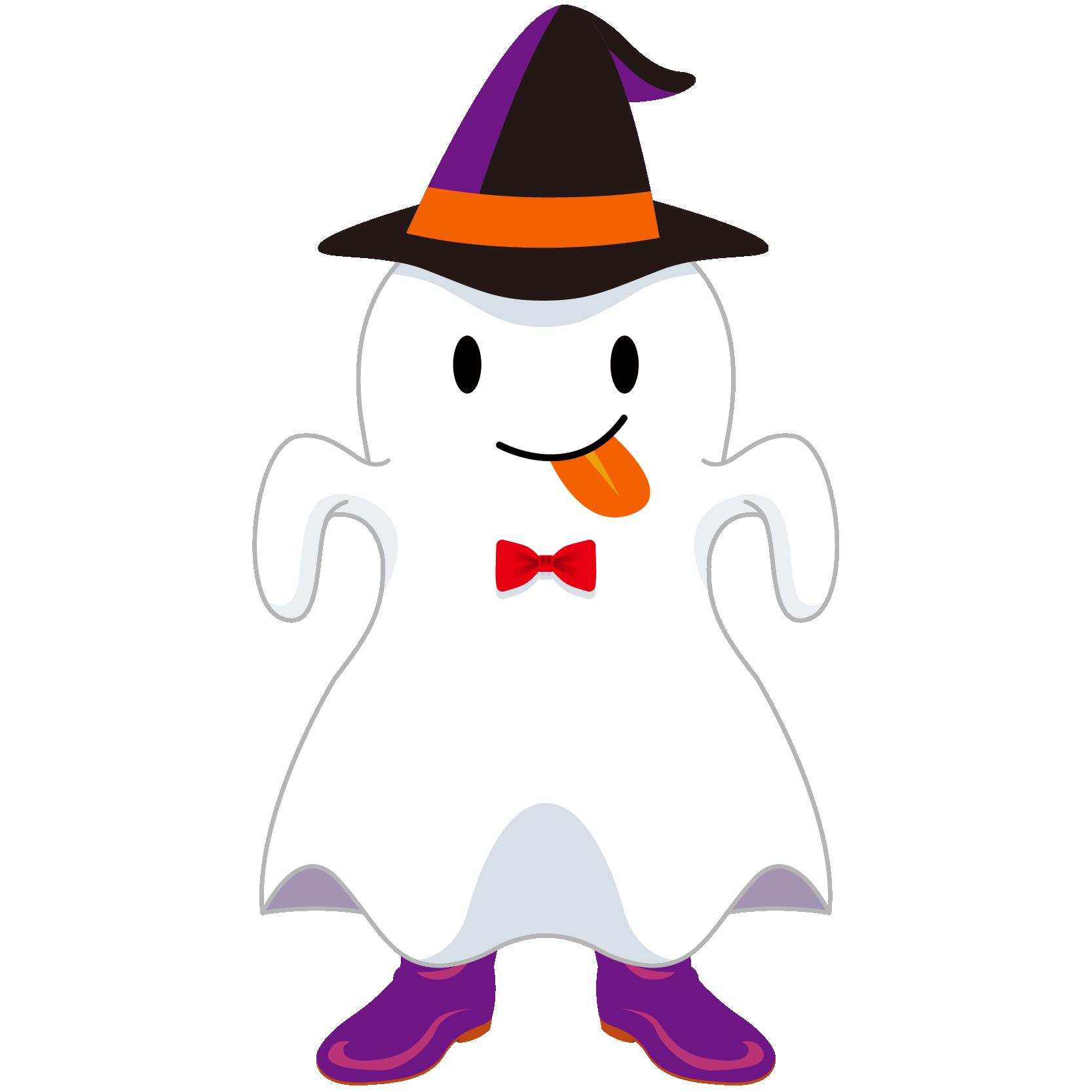 商用フリーイラスト_無料_10月_ハロウィン_おばけ_コスプレ_halloween_Ghost