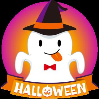 商用フリーイラスト_無料_10月_ハロウィン_おばけ_コスプレ_halloween_Ghost_オーナメント赤