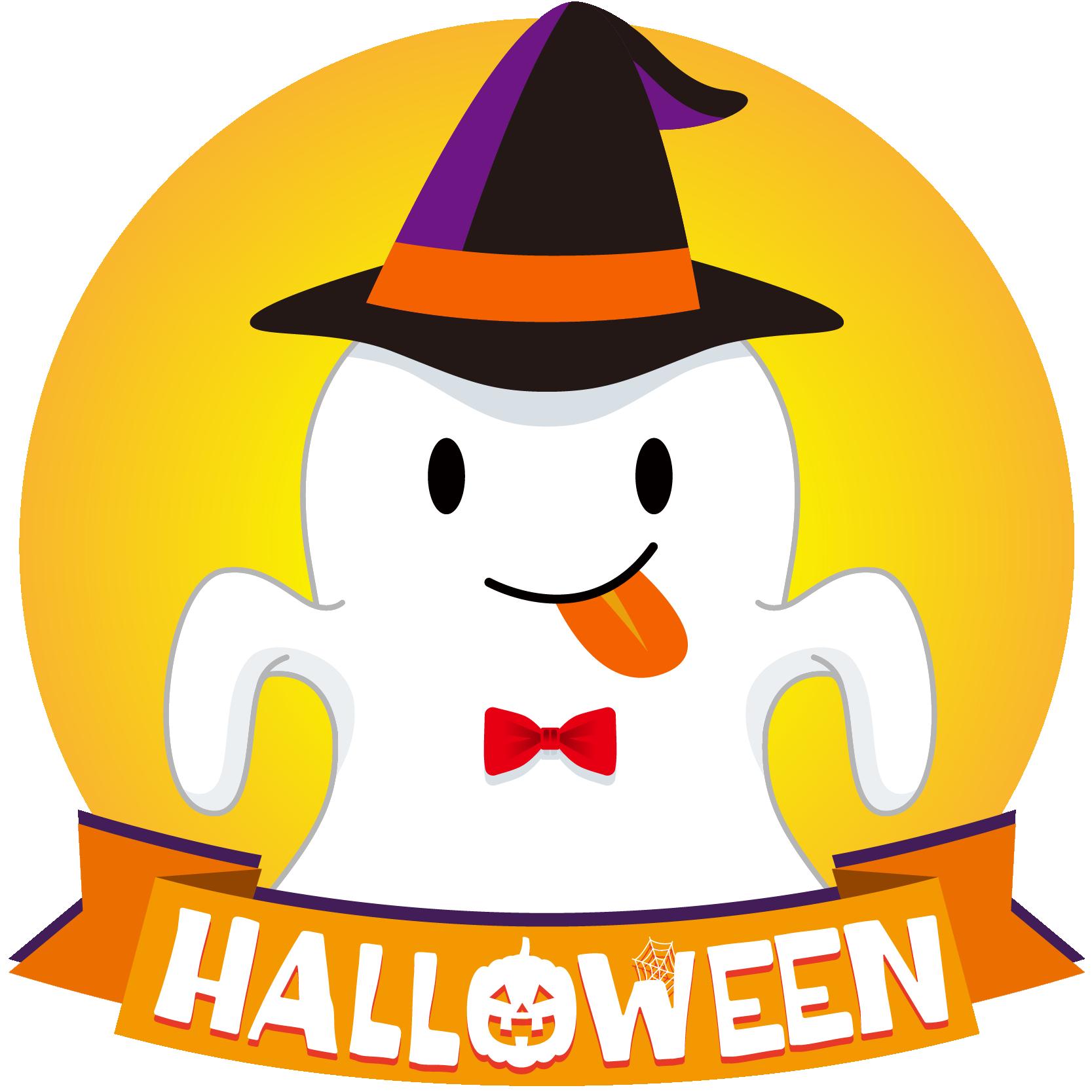 商用フリーイラスト_無料_10月_ハロウィン_おばけ_コスプレ_halloween_Ghost_オーナメントオレンジ