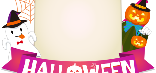 商用フリーイラスト_無料_10月_ハロウィン_おばけ_かぼちゃ_halloween_イーゼル_キャンバス縦