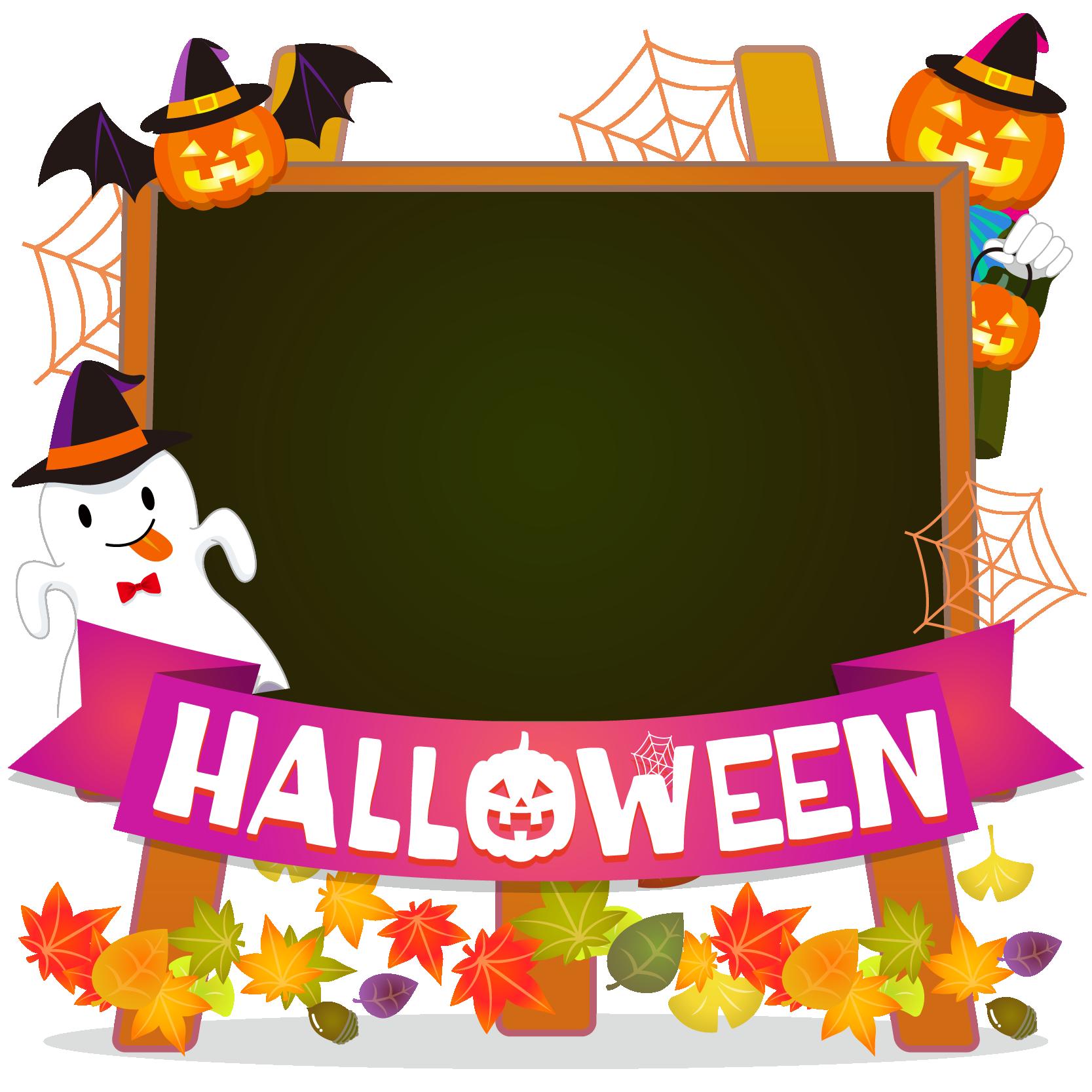 商用フリーイラスト_無料_10月_ハロウィン_おばけ_かぼちゃ_halloween_イーゼル_キャンバス横_黒板