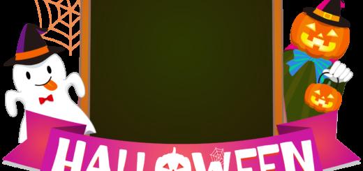 商用フリーイラスト_無料_10月_ハロウィン_おばけ_かぼちゃ_halloween_イーゼル_キャンバス縦_黒板