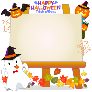 商用フリーイラスト_無料_10月_ハロウィン_おばけ_かぼちゃ_halloween_イーゼル_キャンバス横2
