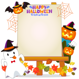 商用フリーイラスト_無料_10月_ハロウィン_おばけ_かぼちゃ_halloween_イーゼル_キャンバス縦2