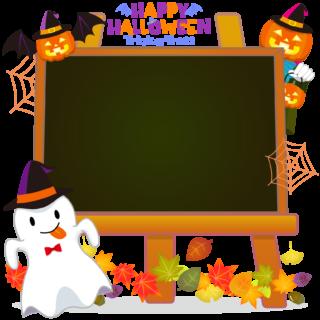 商用フリーイラスト_無料_10月_ハロウィン_おばけ_かぼちゃ_halloween_イーゼル_キャンバス横_黒板2