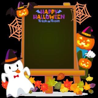 商用フリーイラスト_無料_10月_ハロウィン_おばけ_かぼちゃ_halloween_イーゼル_キャンバス縦_黒板2